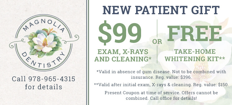 New Patient Gift: $99 Exam, X-Rays and Cleaning* OR FREE Take-Home Whitening Kit** (*Valid in absence of gum disease. Not to be combined with insurance. Reg. value: $396. **Valid after initial exam, X-rays & cleaning. Reg. value: $150. Present Coupon at time of service. Offers cannot be combined. Call office for details!)
